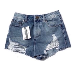 ASOS High Waist Destroyed Denim Cutoffs Shorts 2